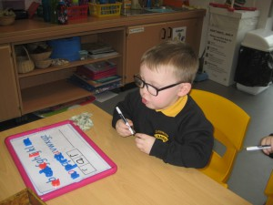 Word building with magnetic letters